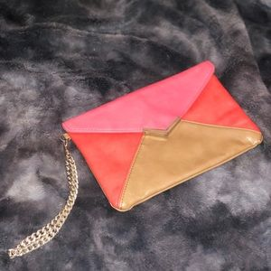 Color block Pink and Tan Express Clutch